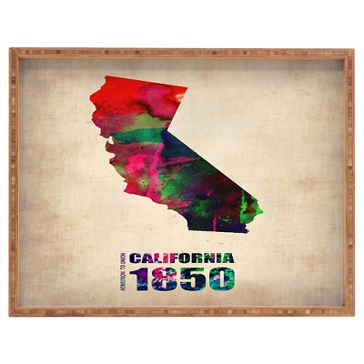 Naxart California Watercolor Map Rectangle Tray - Red - Deny Designs
