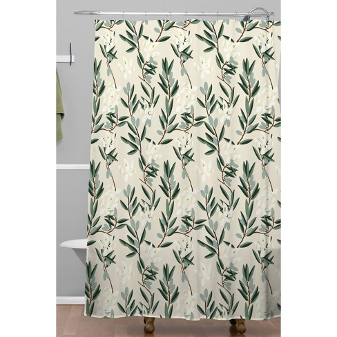 Olive Bloom Shower Curtain Green
