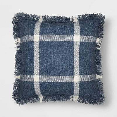 Woven Plaid Square Throw Pillow with Fringe Navy/Cream - Threshold™