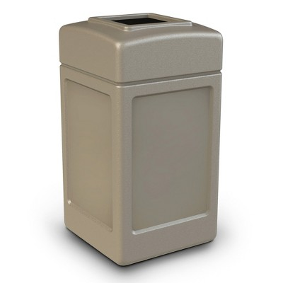 Commercial Zone 732101 Open-Top Indoor/Outdoor Square 42 Gallon Large Waste Trash Container Bin, Beige