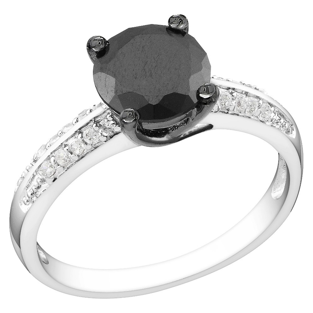 Black and White Cubic Zirconia Silver Bridal Ring - 7 - Silver, Size: 7.0