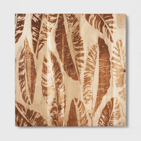 """18"""" x 18"""" Framed Canvas Wall Art Woods with Leaves Brown - Threshold™ - image 1 of 3"""