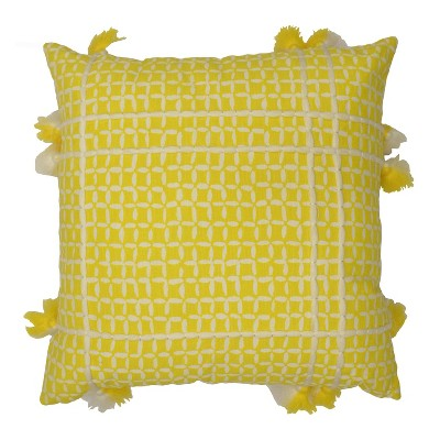Oversized Square Reversible Printed Cotton Pillow with Tassels Yellow - Opalhouse™