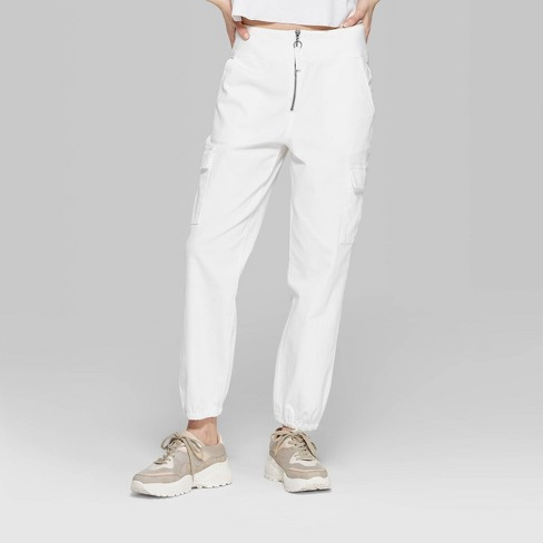 987cee02907e8d Women's High-Rise Zip Front Cargo Pants - Wild Fable™ White 14 : Target