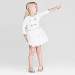 Toddler Girls' Long Sleeve Reindeer T-Shirt Tulle Dress - Cat & Jack™ White