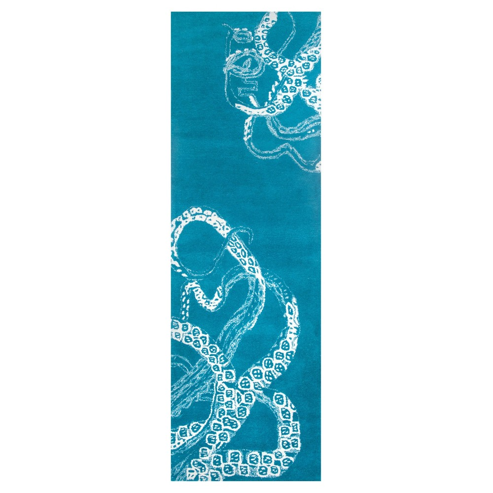 """Image of """"2'6""""""""x8' Tufted Solid Runner Rug Blue - nuLOOM, Size: 2' 6"""""""" x 8' Runner, Blue Waters"""""""