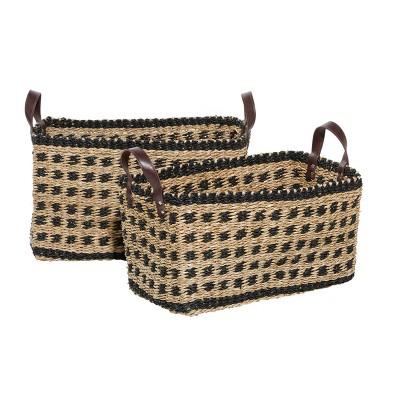 2pk Wood Storage Baskets Brown