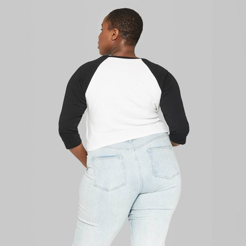 98c9367f Women's Plus Size 3/4 Sleeve Baseball T-Shirt - Wild Fable™ : Target