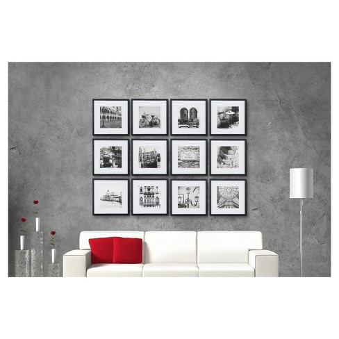 12 Piece 12x12 Black Frame Kit Matted To 8x8 Gallery Perfect