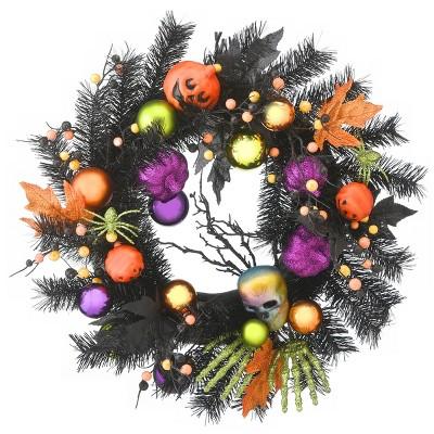 "22"" Pumpkins and Ornaments Halloween Wreath - Black"