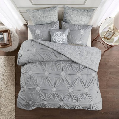 Alicia 6pc Embroidered Cotton Reversible Comforter Set