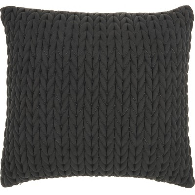 Life Styles Quilted Chevron Throw Pillow Charcoal - Nourison