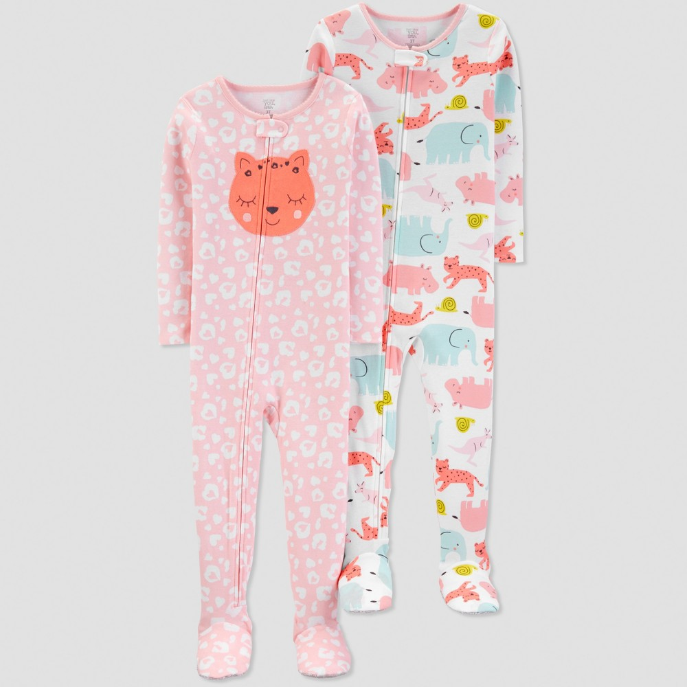 Toddler Girls' Cat One Piece Pajama - Just One You made by carter's Pink 4T