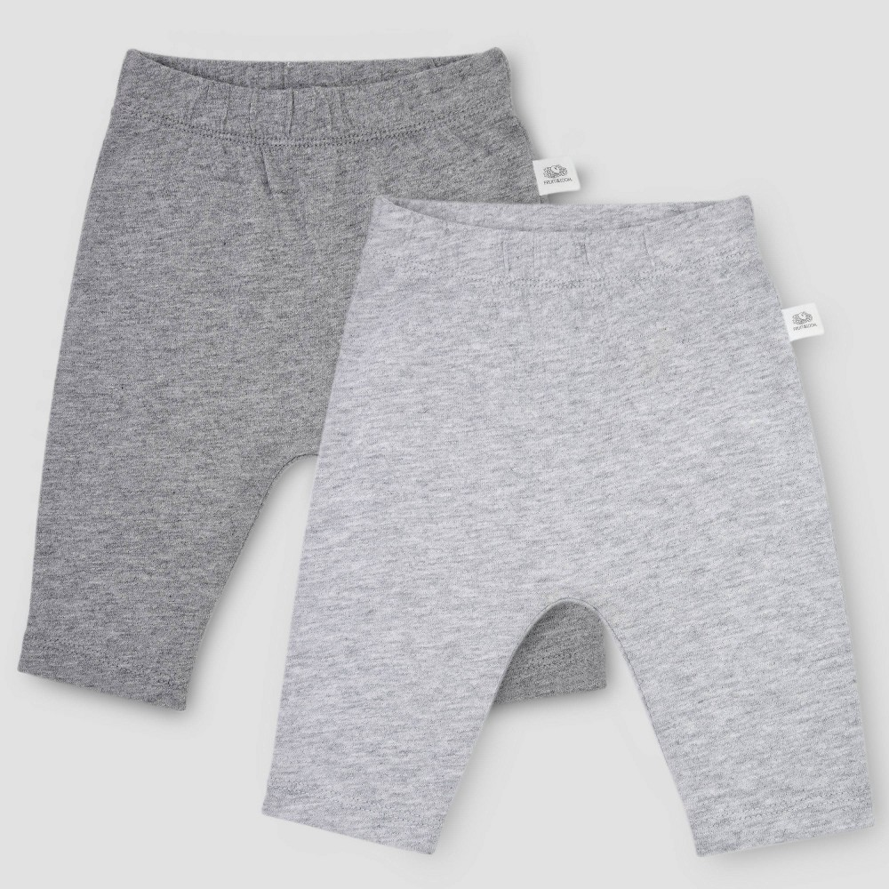 Image of Fruit of the Loom Baby 2pk Breathable Pants - Gray 0-3M, Kids Unisex