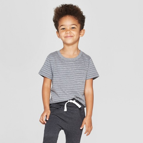 Toddler Boys' Short Sleeve Texture Pocket T-Shirt - Cat & Jack™ Gray - image 1 of 3