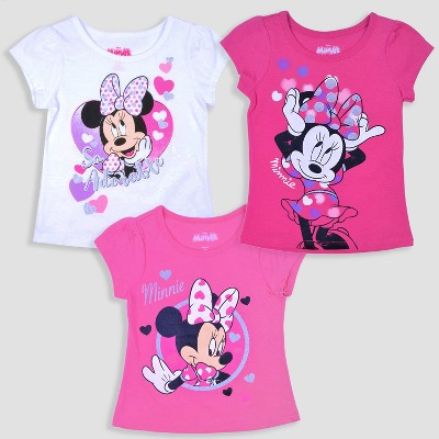 Toddler Girls' 3pk Disney Mickey Mouse & Friends Minnie Mouse Short Sleeve T-Shirt - Pink/White