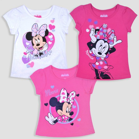 Toddler Girls' 3pk Disney Mickey Mouse & Friends Minnie Mouse Short Sleeve T-Shirt - Pink/White - image 1 of 4