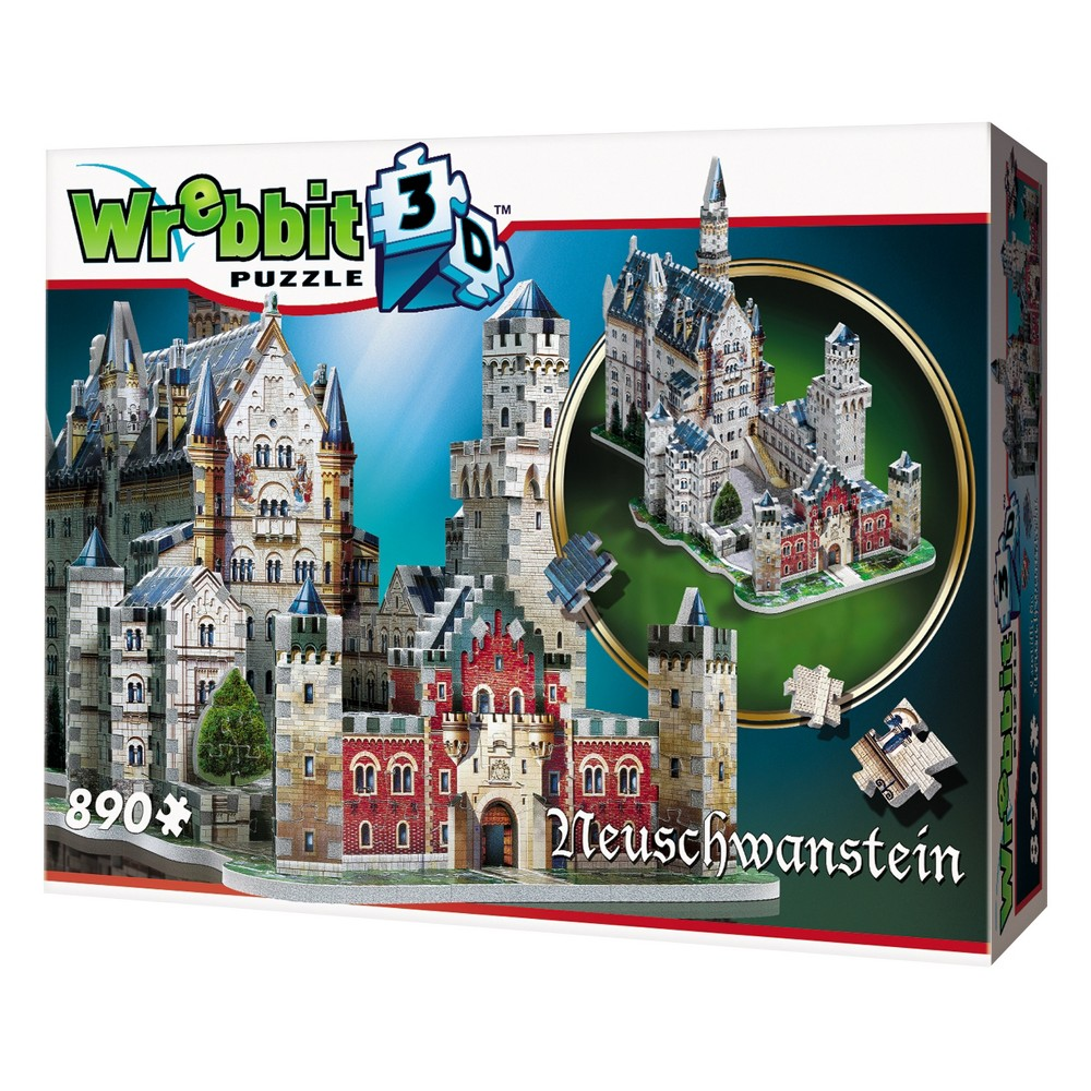 Wrebbit Neuschwanstein Castle 3D Puzzle 890pc Create your own fairytale! Dubbed ''The castle of the fairytale king'', Neuschwanstein is Germany's most visited castle. Called Schloss Neuschwanstein in German, it can be translated in English by ''New Swanstone Castle.'' The palace was the inspiration for Disneyland's Sleeping Beauty Castle. Build this magnificent 890-piece 3D puzzle replica of the nineteenth-century Romanesque Revival palace commissioned by Ludwig II of Bavaria and enjoy it happily ever after. Assembled dimensions: 21.95 inches L x 11.42 inches W x 15.26inches H. For 12 years old to adults. Choking Hazard! Not for children under 3 years old. Wrebbit3D puzzles are the largest and have the highest piece count of their kind. Snug and tight fitting pieces that are easy to handle. They are the sturdiest 3D puzzles on the market. Highest quality of design and illustration. Made in Canada from non-toxic polyethylene foam. Warning: Choking Hazard - Small parts. Not for children under 3 yrs. Gender: Unisex.