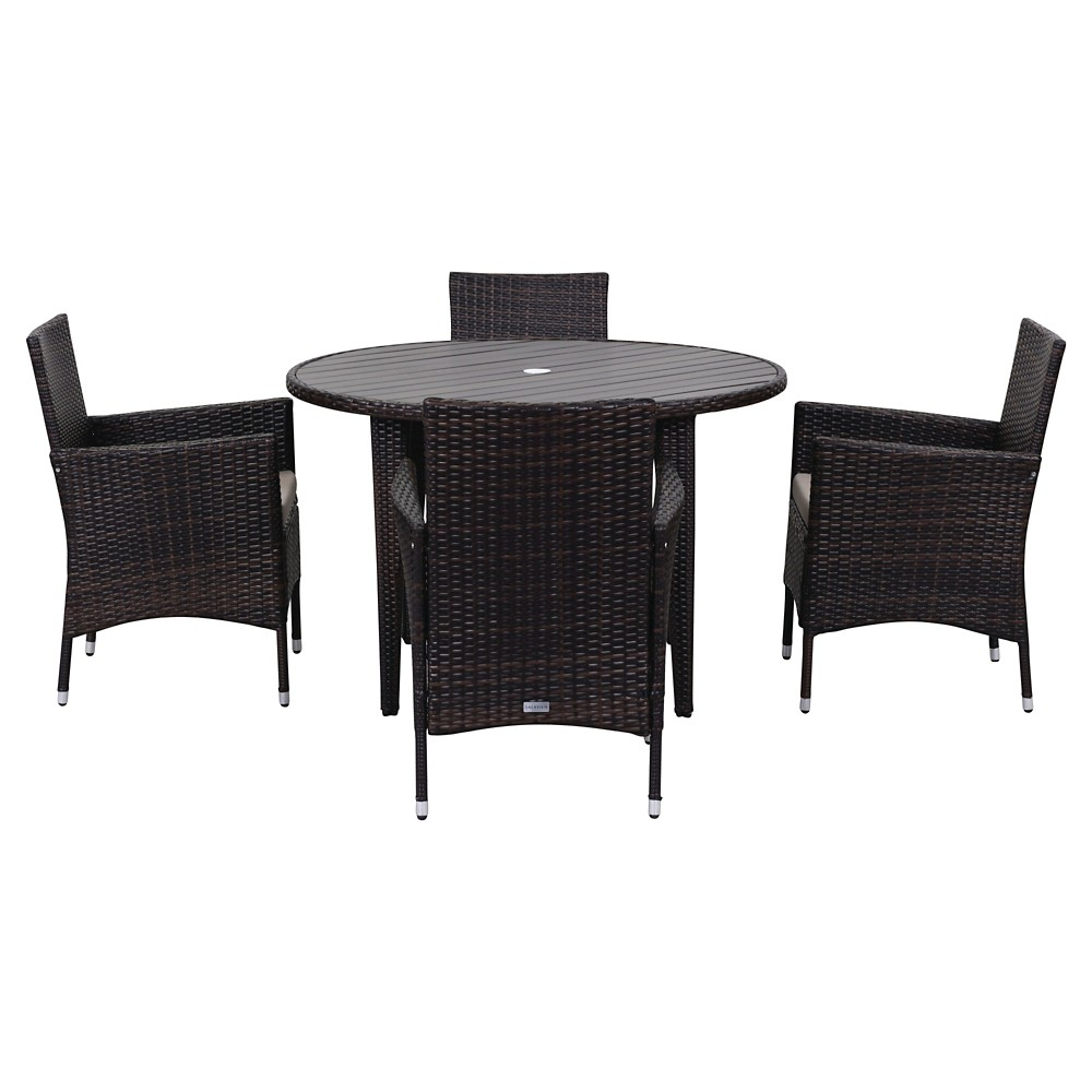 Cooley 5pc Wicker Patio Dining Set - Brown/Sand - Safavieh