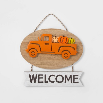 "Harvest ""Welcome"" Hanging Wall Sign - Spritz™"