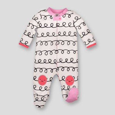 Lamaze Baby Girls' Organic Cotton Curly Stripe Print Zip Sleep 'N Play - White Newborn
