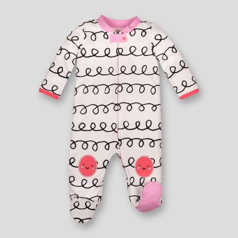 327b7d5d3d90 Lamaze Baby Girls' Organic Curly Stripe Print Zip Sleep 'N Play - White