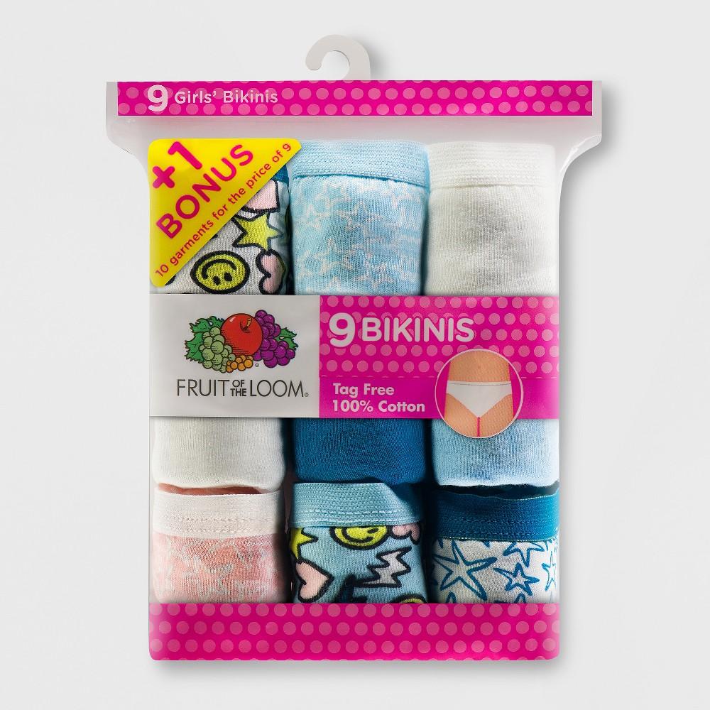 Fruit of the Loom Girls' 9+1 Bonus Pack Cotton Bikini Briefs - 14, Multicolored