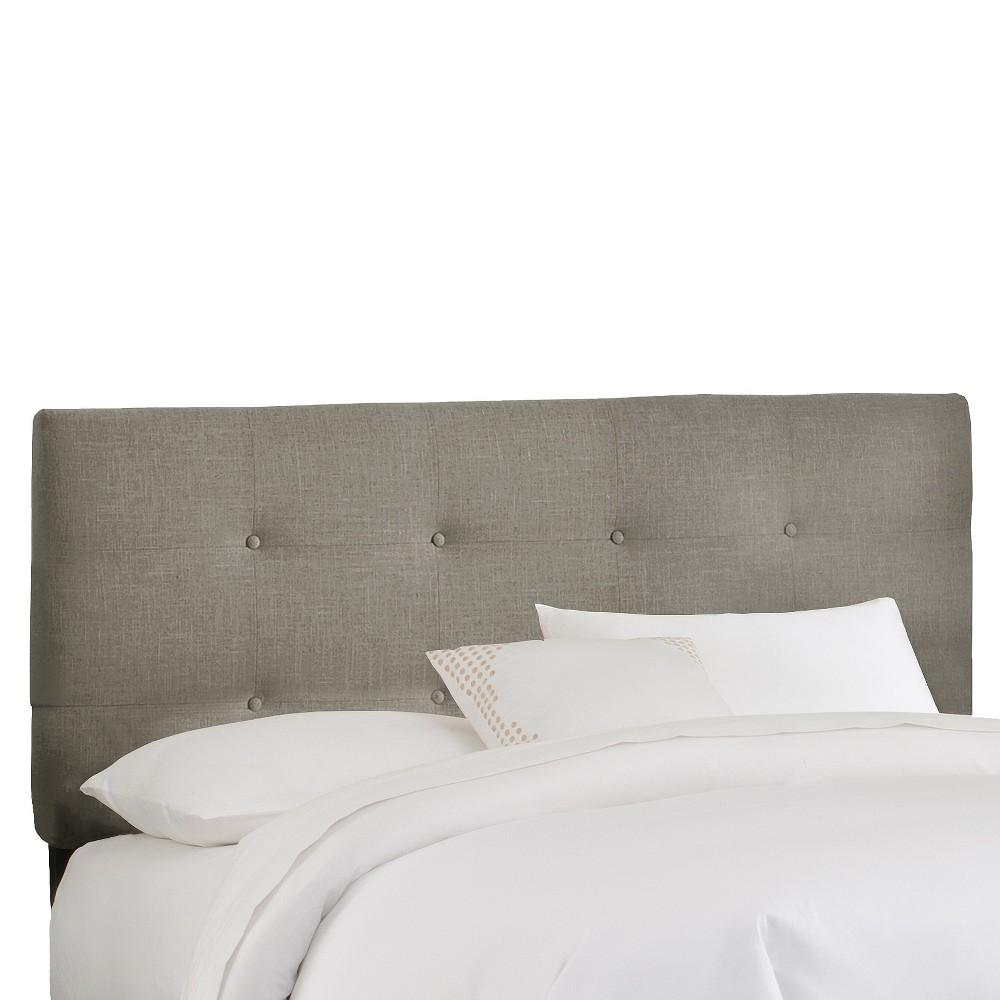 California King Dolce Metallic Upholstered Headboard Gray Linen Skyline Furniture