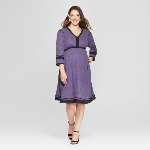 Maternity 3/4 Sleeve Woven Color Block Dress - Isabel Maternity by Ingrid & Isabel™ Purple/Black - image 1 of 2