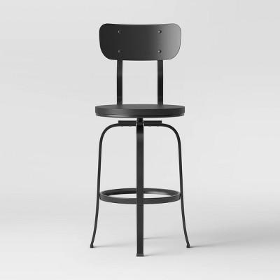 Dakota Backed Adjustable Wood Seat Barstool Black/Gray - Threshold™