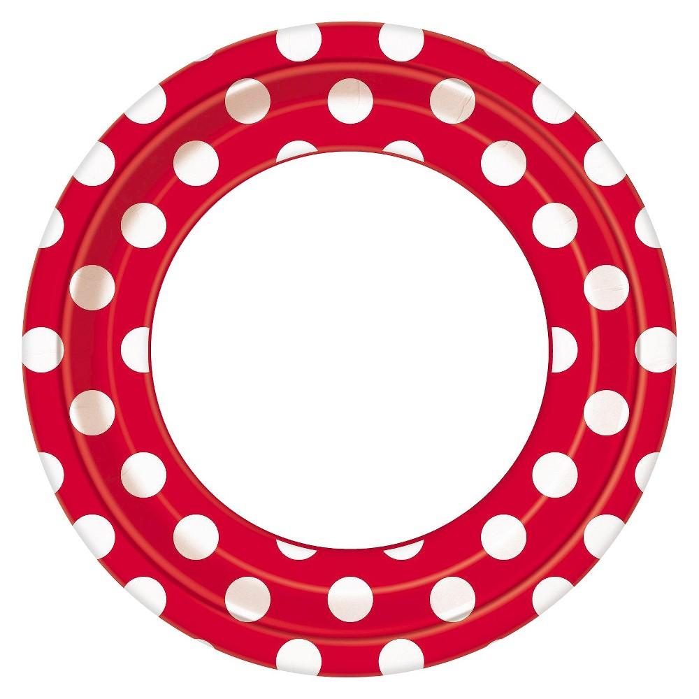 Image of 8ct Red & White Polka Dot Border Dinner Plate