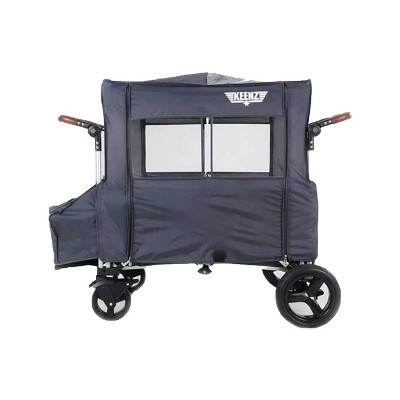 Keenz Outdoor All Weather Wind Cover and UV Protector with Windows and Zipper Enclosure for 7S Push Pull Storage Wagon Stroller, Gray