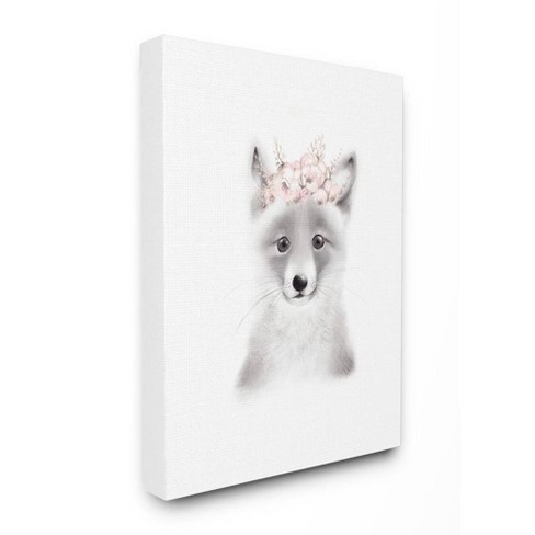 "16""x1.5""x20"" Sketched Fluffy Fox Flowers Stretched Canvas Wall Art - Stupell Industries - image 1 of 2"