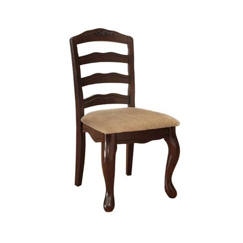 Set of 2 Cottage Side Chairs Dark Walnut - Benzara - image 1 of 4