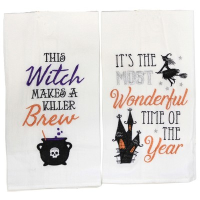 """Decorative Towel 27.0"""" Flying Witch And Her Brew Towel Kitchen Decor Halloween  -  Kitchen Towel"""