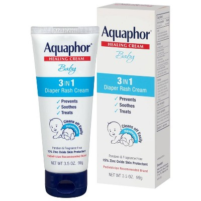 Aquaphor Baby 3-in-1 Diaper Rash Cream - Prevents, Soothes, and Treats - 3.5oz. Tube