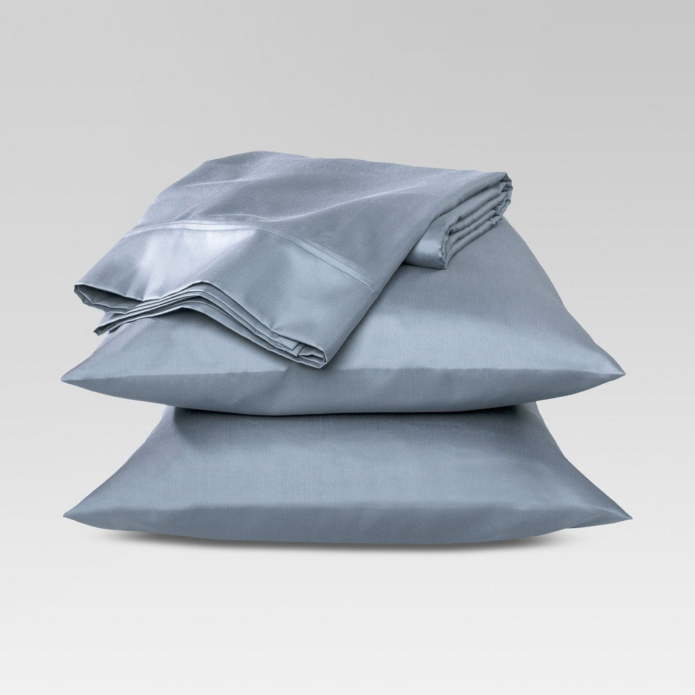 Performance Sheet Set (King) Blue 400 Thread Count - Threshold, Washed Blue