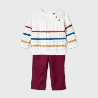 Baby Boys' Striped Sweater Top & Bottom Set - Cat & Jack™ Cream Newborn