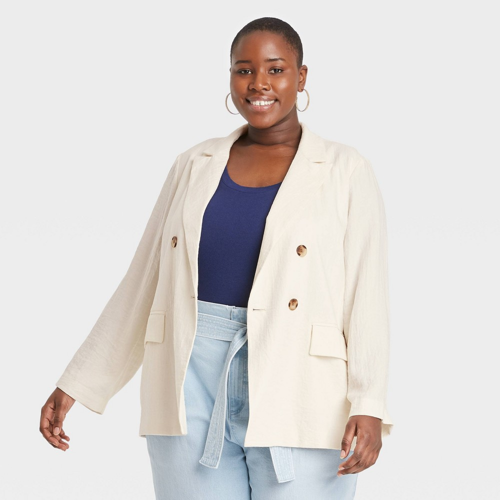 Women 39 S Plus Size Double Breasted Blazer A New Day 8482 Cream 4x