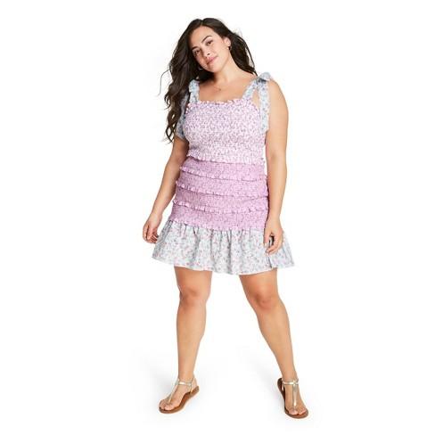 Women's Adeline Tie-Strap Smocked Ruffle Dress - LoveShackFancy for Target (Regular & Plus) Pink/Light Blue  - image 1 of 4
