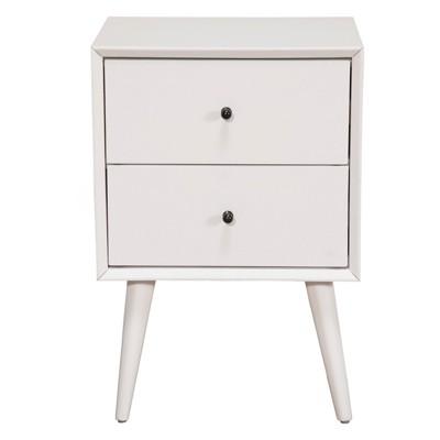Alpine Furniture Flynn Mid Century Modern Mahogany Fully Assembled Bedroom Side Nightstand with 2 Bedside Storage Drawers, White