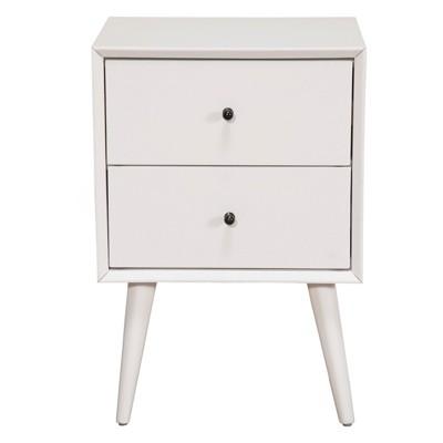 Alpine Furniture 966-W-02 Flynn Mid Century Modern Bedside Nightstand, White