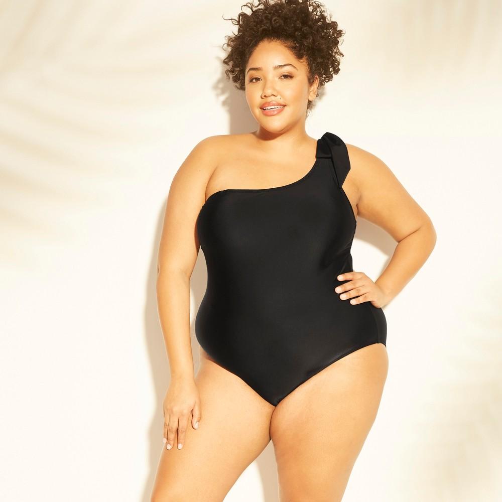 Women's Plus Size Bow-Tie One Shoulder One Piece Swimsuit - Kona Sol Black 26W