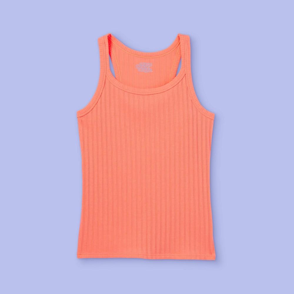 Girls 39 Rib Tank Top More Than Magic 8482 Neon Peach S