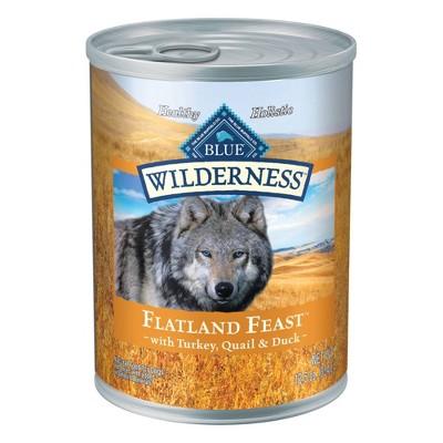 Blue Buffalo Wilderness Grain Free Wet Dog Food Flatland Feast with Turkey, Quail & Duck - 12.5oz/12ct Pack