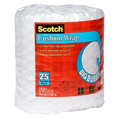 Scotch 1/2in Big Bubble Cushion Wrap 12in x 25ft, Clear