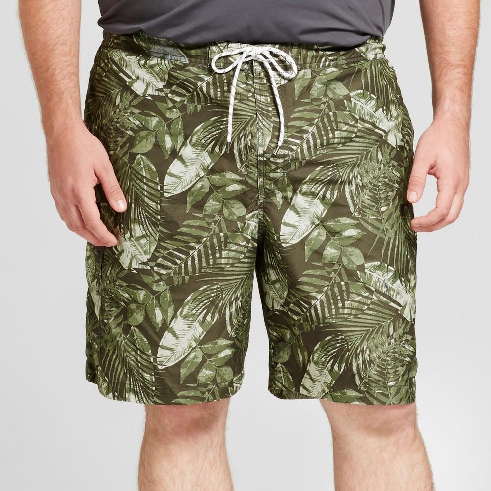 Men's Big & Tall Board Shorts Tropical Leaves Print 9 - Goodfellow & Co Green 3XB
