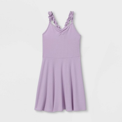 Girls' Cinch Front Ruffle Strap Tank Dress - art class™