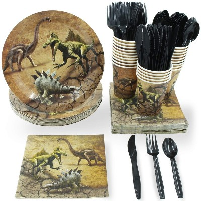 Juvale Jurassic 144-Piece Serves 24 Dinosaur Party Supplies - Disposable Plate, Napkin, Cup & Cutlery
