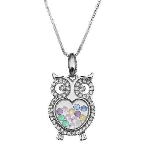 "Cubic Zirconia Owl Floating Locket in Sterling Silver (18"") - image 1 of 1"